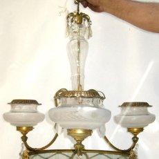Antigüedades: FANTASTICA LAMPARA IMPERIO CIRCA 1900 EN BRONCE Y CRISTAL. Lote 124671711