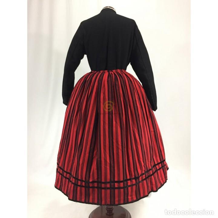 ANTIGUA SAYA DE BAYETA ESTAMPADA. REFAJO (Antigüedades - Moda y Complementos - Mujer)