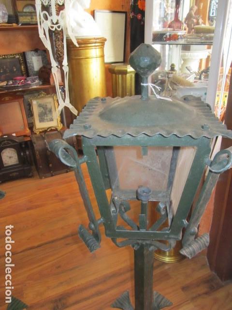 Faroles de hierro forja para jardín color verde altura 91 cm. 25 X 25  ancho. peso 9 kilos cada uno