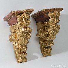 Antigüedades: PAREJA DE MÉNSULAS -MÉNSULA- BARROCAS S. XVIII, DIM.- 39X28,5X20 CMS. Lote 124781191