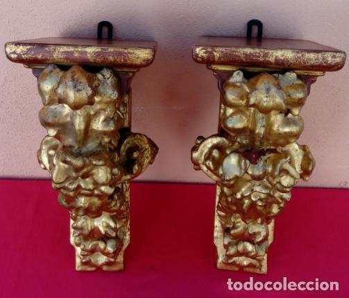 Antigüedades: PAREJA DE MÉNSULAS -MÉNSULA- BARROCAS S. XVIII, DIM.- 39X28,5X20 CMS - Foto 2 - 124781191
