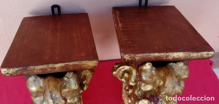 Antigüedades: PAREJA DE MÉNSULAS -MÉNSULA- BARROCAS S. XVIII, DIM.- 39X28,5X20 CMS - Foto 5 - 124781191