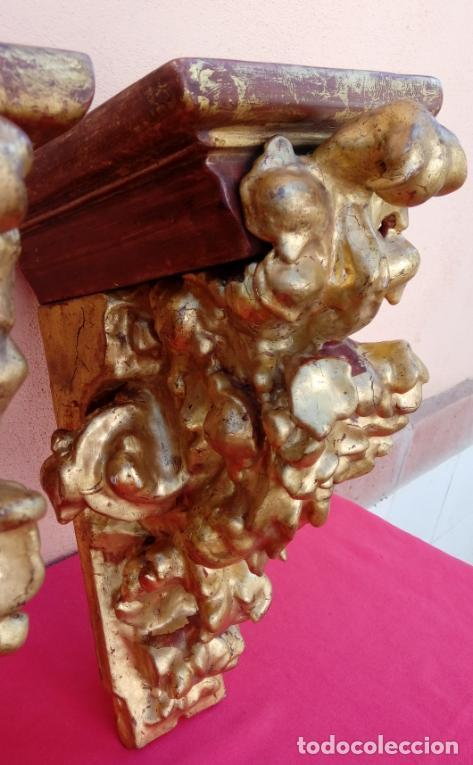Antigüedades: PAREJA DE MÉNSULAS -MÉNSULA- BARROCAS S. XVIII, DIM.- 39X28,5X20 CMS - Foto 8 - 124781191