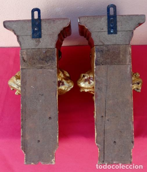 Antigüedades: PAREJA DE MÉNSULAS -MÉNSULA- BARROCAS S. XVIII, DIM.- 39X28,5X20 CMS - Foto 11 - 124781191