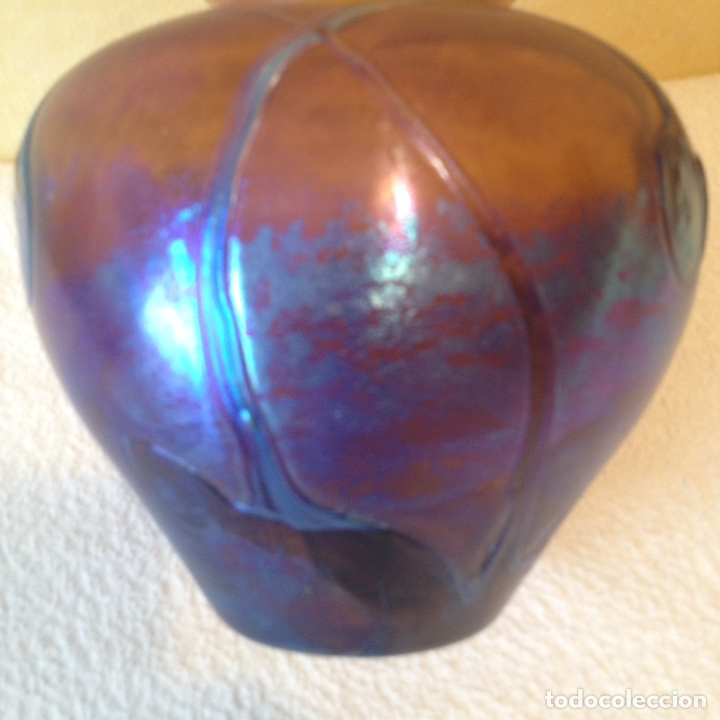 Antigüedades: Raymond Branle, Jarrón de cristal iridiscente firmado - Foto 3 - 124858172