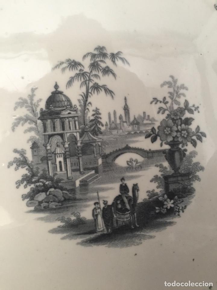 Antigüedades: Fuente la cartuja pickman semichina muy buen estado 34 de diámetro - Foto 6 - 124882562