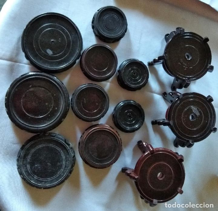 Antigüedades: Lote de 12 peanas de madera para jarron -varias medidas - Foto 2 - 124924043