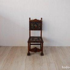 Antigüedades: SILLA CASTELLANA MADERA Y CUERO. Lote 124932483