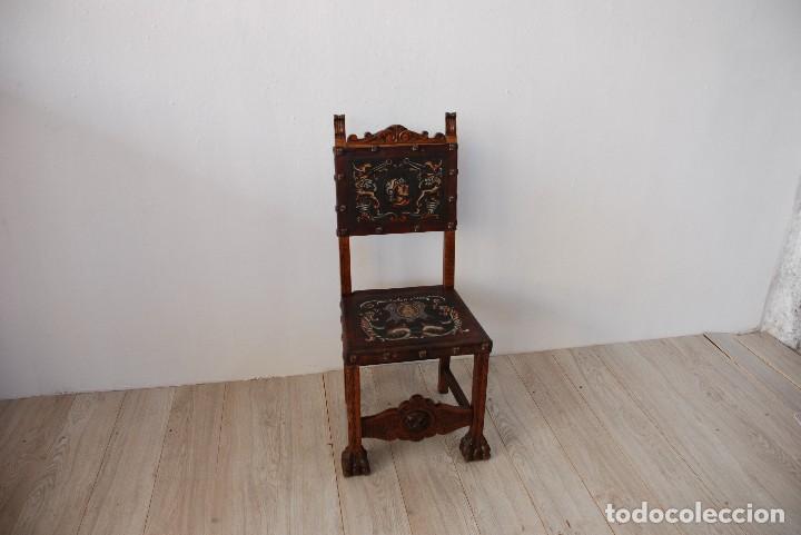 Antigüedades: SILLA CASTELLANA MADERA Y CUERO - Foto 2 - 124932483