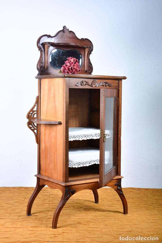 Antigüedades: Mueble auxiliar de comedor - Vitrina expositor Art Nouveau - Foto 2 - 124935547