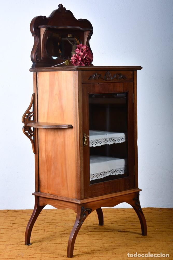 Antigüedades: Mueble auxiliar de comedor - Vitrina expositor Art Nouveau - Foto 4 - 124935547