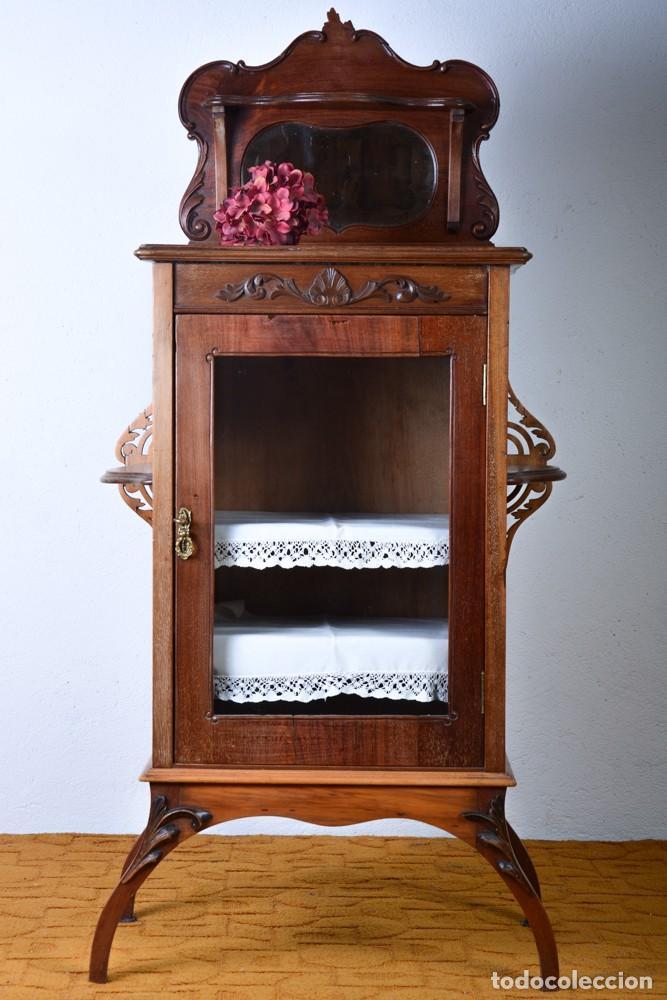 Antigüedades: Mueble auxiliar de comedor - Vitrina expositor Art Nouveau - Foto 6 - 124935547
