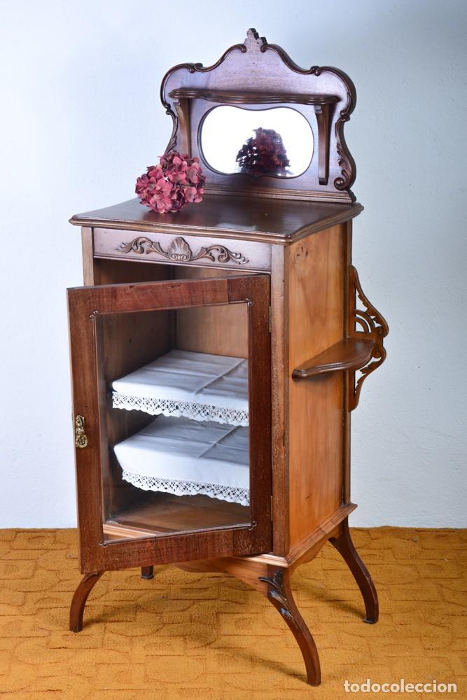 Antigüedades: Mueble auxiliar de comedor - Vitrina expositor Art Nouveau - Foto 12 - 124935547