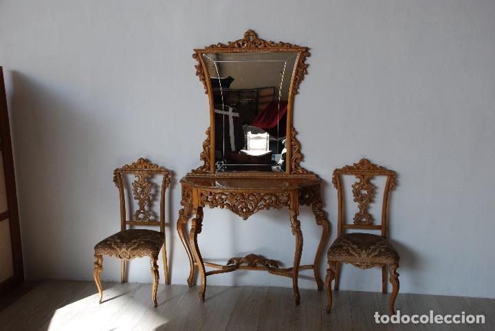 ENTRADA ROCOCÓ Y SILLAS (Antigüedades - Muebles Antiguos - Consolas Antiguas)