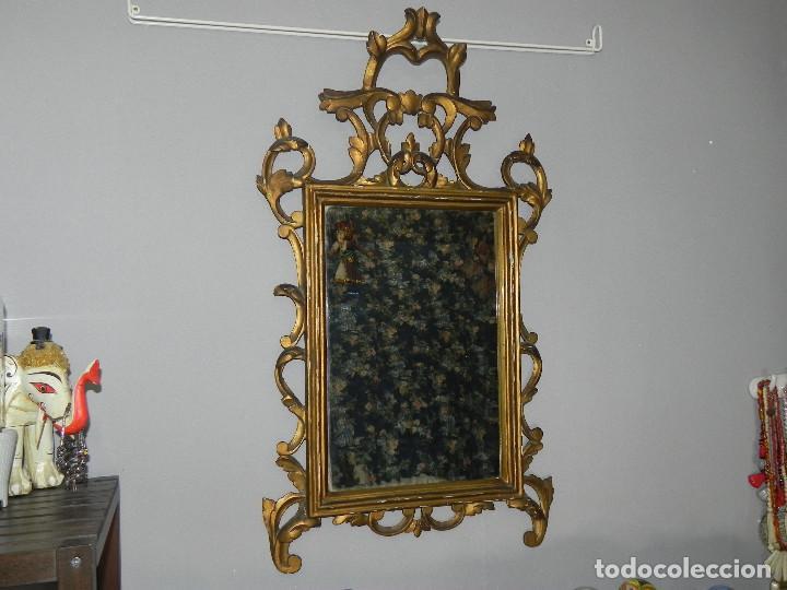 ** PRECIOSO ESPEJO CORNUCOPIA ANTIGUO EN MADERA TALLADA Y PAN DE ORO SIGLO XVIII / XIX ** (Antigüedades - Muebles Antiguos - Cornucopias Antiguas)