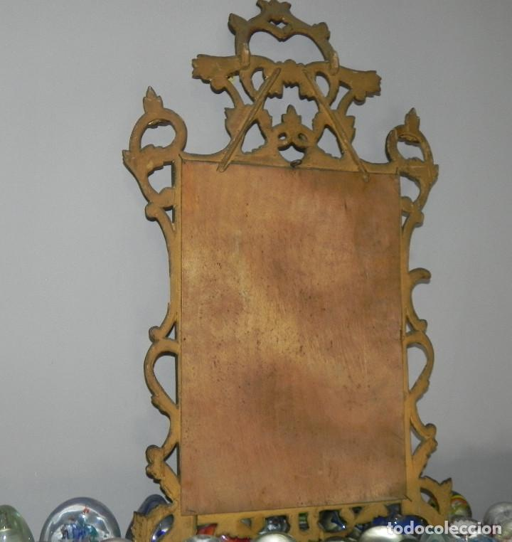 Antigüedades: ** PRECIOSO ESPEJO CORNUCOPIA ANTIGUO EN MADERA TALLADA Y PAN DE ORO SIGLO XVIII / XIX ** - Foto 11 - 125054887