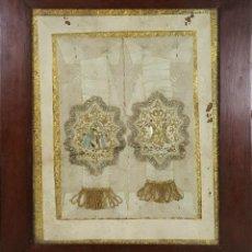 Antigüedades: ESCAPULARIOS DE LA VIRGEN. SEDA BORDADA A MANO. HILO DORADO ENTORCHADO. SIGLO XIX. . Lote 125056951