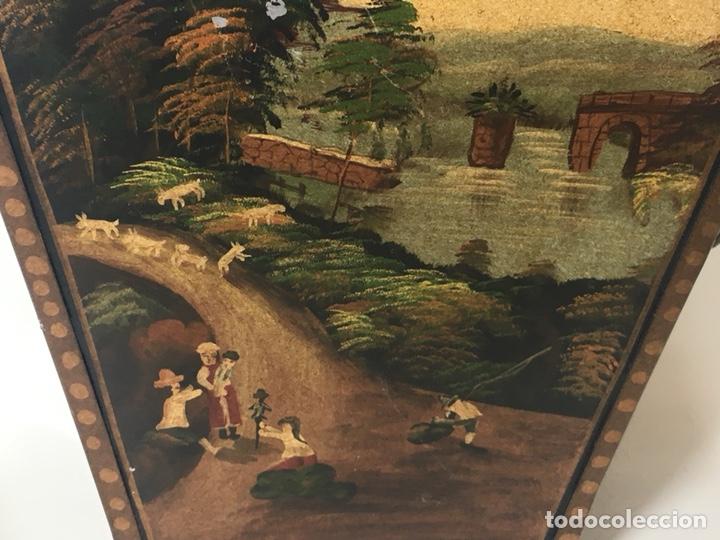 Antigüedades: Jardinera hoja de lata pintada a mano escenas campestres 16,5x20x23 - Foto 3 - 125059707