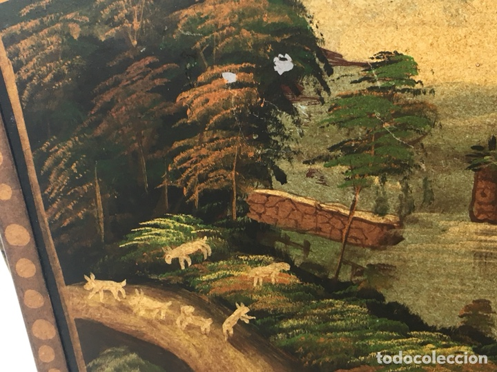 Antigüedades: Jardinera hoja de lata pintada a mano escenas campestres 16,5x20x23 - Foto 5 - 125059707