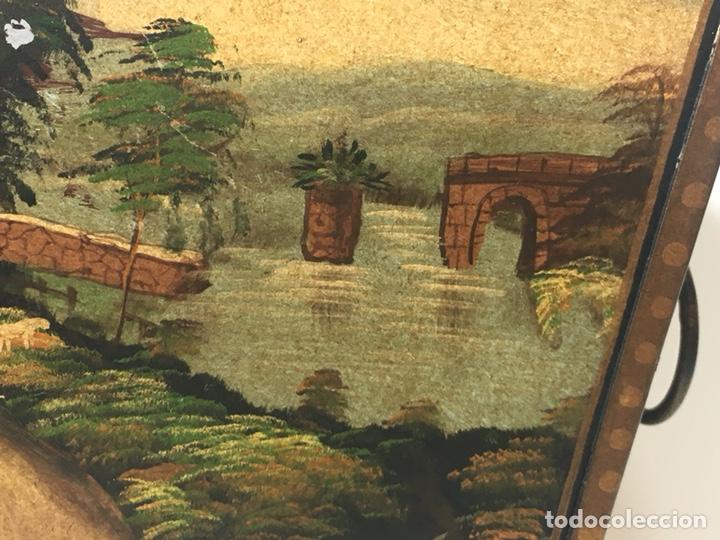 Antigüedades: Jardinera hoja de lata pintada a mano escenas campestres 16,5x20x23 - Foto 6 - 125059707