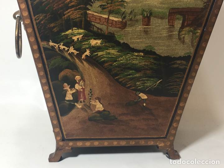 Antigüedades: Jardinera hoja de lata pintada a mano escenas campestres 16,5x20x23 - Foto 10 - 125059707