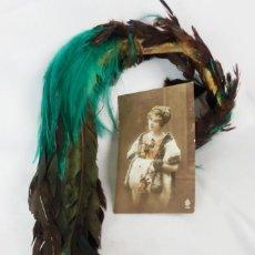 Antigüedades: PENACHOS DE PLUMAS MARABÚ DE ÉPOCA IDEAL SOMBRERO TOCADO S XIX. Lote 125067015