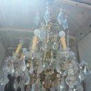 Antigüedades: LAMPARA BRONCE Y LÁGRIMAS DE CRISTAL. Lote 125120698