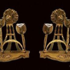 Antigüedades: ANTIGUA PAREJA DE CANDELABROS, APLIQUES, DE BRONCE, NAPOLEÓN III, IMPERIO. CASINO MERCANTIL DE ZARAG. Lote 123332831