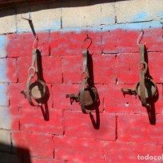 Antigüedades: LOTE 3 ANTIGUOS CEPOS CAZA EN EL CAMPO,HIERRO,FORJA,FUNCIONAN. Lote 125134207