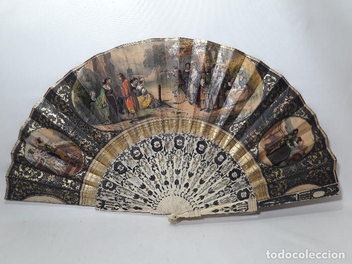 IMPORTANTE ABANICO IMPERIO H. 1830, VARILLAJE HUESO Y PLATA PAPEL LITO ILUMINADO MANO, MED 27X51 CM. (Antigüedades - Moda - Abanicos Antiguos)