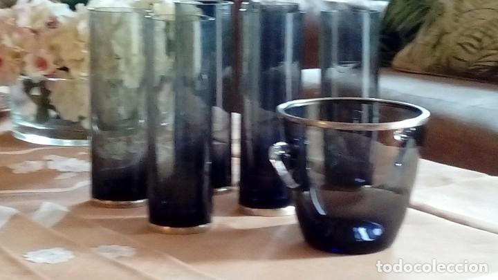 CUBITERA CRISTAL Y PLATA CON 6 VASOS TUBO Y BASE DE PLATA (Antigüedades - Cristal y Vidrio - Otros)