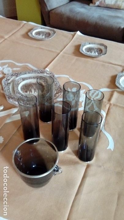 Antigüedades: CUBITERA CRISTAL Y PLATA CON 6 VASOS TUBO Y BASE DE PLATA - Foto 12 - 73475555