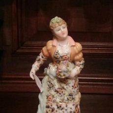 Antigüedades: MUJER CON FLORES Y PANDERETA - PORCELANA DE VOLKSTEDT, RICHARD ECKERT & CO. S.XIX.. Lote 125217171
