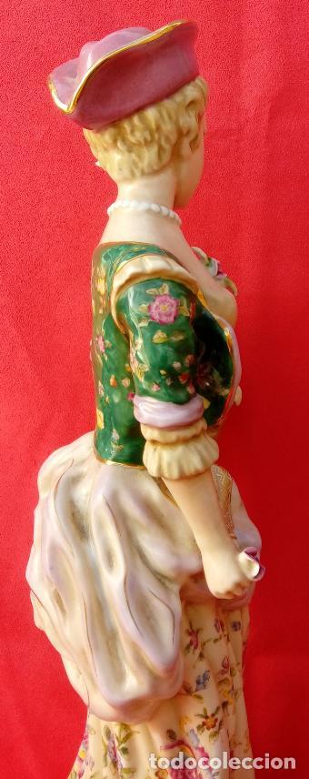 Antigüedades: PAREJA DE FIGURAS GALANTES EN PORCELANA FRANCESAS. XIX. EN MAGNÍFICO ESTADO. 47.5 Y 49 CMS ALTO - Foto 18 - 125234655