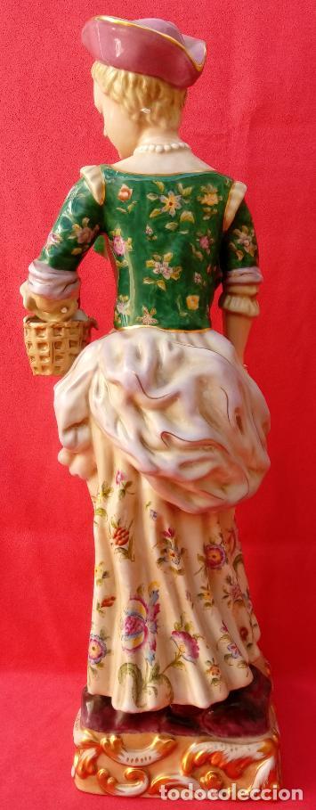 Antigüedades: PAREJA DE FIGURAS GALANTES EN PORCELANA FRANCESAS. XIX. EN MAGNÍFICO ESTADO. 47.5 Y 49 CMS ALTO - Foto 20 - 125234655