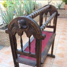 Antigüedades: ANTIGUO BURRO CASTELLANO DE MADERA TALLADA. Lote 125290975