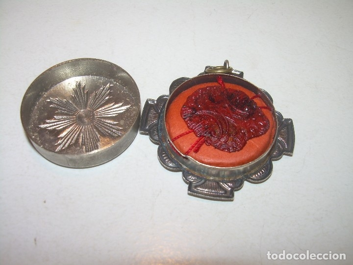 Antiquitäten: ANTIGUO RELICARIO CON SU CORRESPONDIENTE LACRA PRECINTADA. - Foto 4 - 125291091