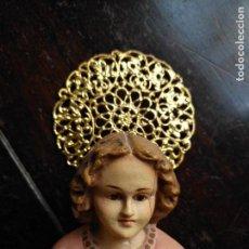 Antigüedades: TORTA CORONA AUREOLA RESPLANDOR FILIGRANA METAL DORADO 6,5 SANTO VIRGEN NIÑO JESUS BELEN NAPOLITANO. Lote 125304603