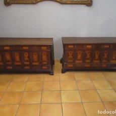 Antigüedades: PAREJA DE ARCONES - ARCA,CAJA, BAÚL, ARCÓN BARROCO CATALÁN - MADERA DE NOGAL Y MARQUETERÍA - S.XVIII. Lote 125312791