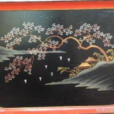 Antigüedades: 2 BANDEJAS JAPONESA DE PAPEL MACHE SIGLO XIX. Lote 125314791
