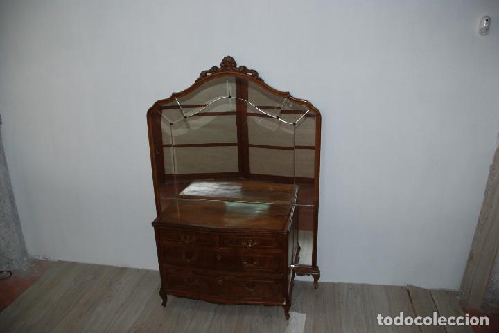 CÓMODA ROBLE CON MURAL DE ESPEJO (Antigüedades - Muebles - Cómodas Antiguas)