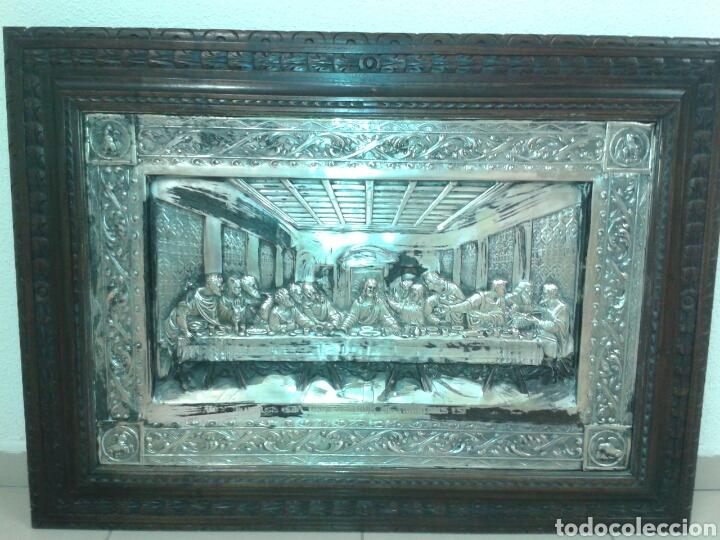 ANTIGUO MARCO DE MADERA CON LA SANTA CENA (Antigüedades - Religiosas - Orfebrería Antigua)