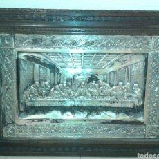 Antigüedades: ANTIGUO MARCO DE MADERA CON LA SANTA CENA. Lote 125325680