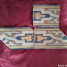 Antigüedades: CENEFA DE AZULEJOS DE TALAVERA, S. XVI. ,3 PIEZAS ESMALTADAS EN AZUL , AMARILLO, NARANJA Y BLANCO. Lote 43971304
