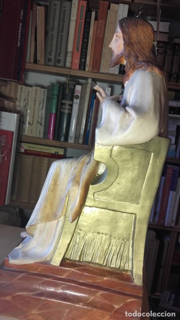 Antigüedades: SAGRADO CORAZON ENTRONIZADO. ANTIGUO. SIN SELLO DE PROCEDENCIA. 50 CENTIMETROS. 3150 GRAMOS. - Foto 11 - 125333835