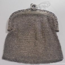 Antigüedades: ANTIGUO MONEDERO BOLSO DE PLATA. 6 X 6.5CM. 50 GRAMOS. DOBLE COMPARTIMENTO. VER FOTOS. Lote 125374639