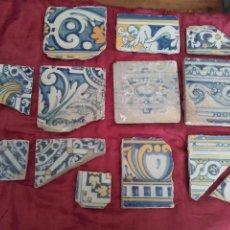 Antigüedades: LOTE DE 13 AZULEJOS DE TALAVERAS S. XVI-XVII, ESMALTADOS EN AZUL, AMARILLO Y BLANCO. Lote 43971797