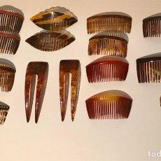 Antigüedades: LOTE DE 15 PEINETAS DE LA PRIMERA MITAD DEL SIGLO XX. SIMIL CAREY.. Lote 125388520