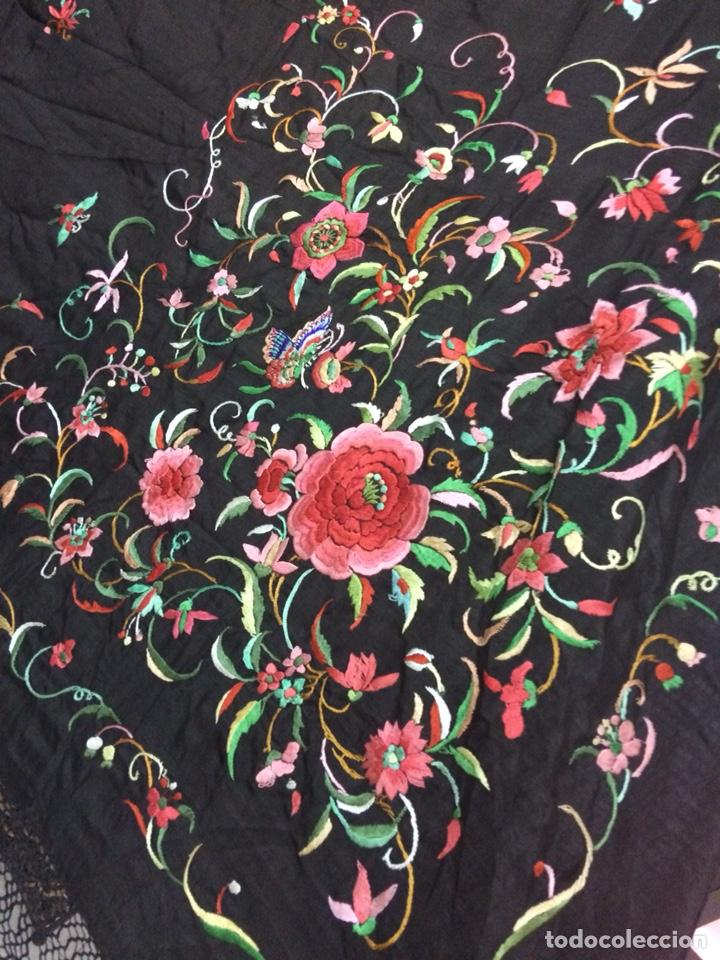 Antigüedades: Antiguo mantón de manila isabelino - Foto 4 - 126976987