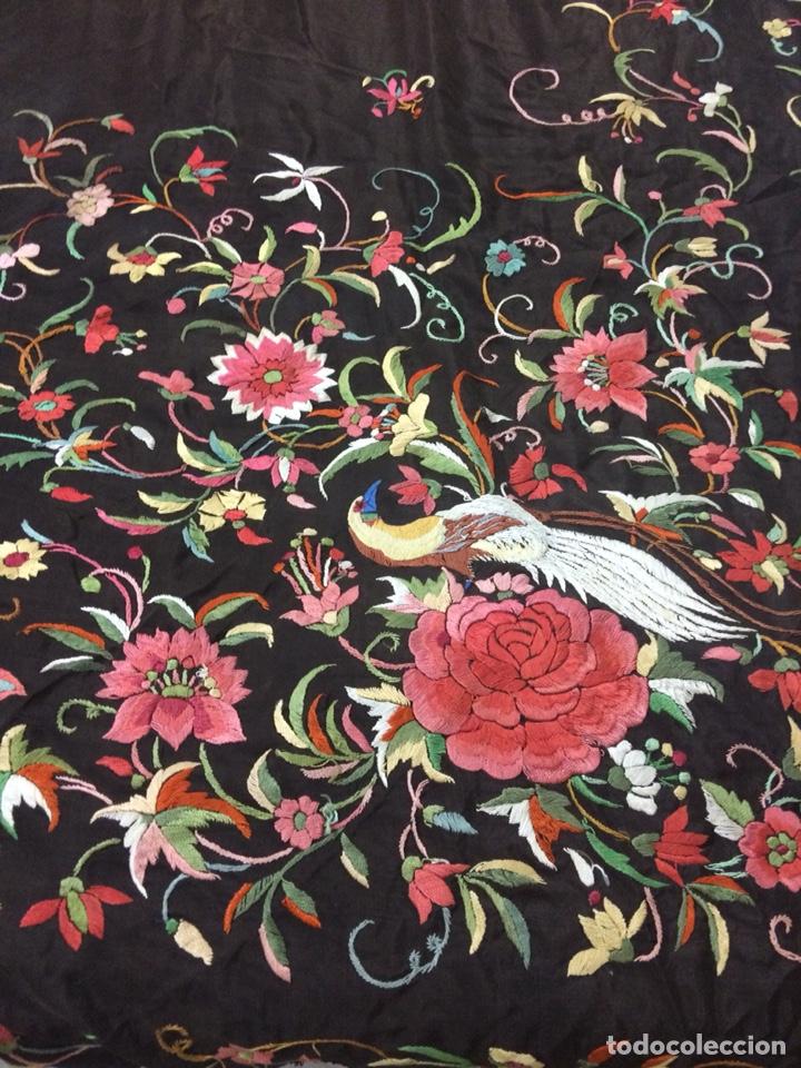 Antigüedades: Antiguo mantón de manila isabelino - Foto 8 - 126976987